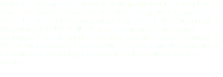 With the multi-language capability of our international personnel, we don't have problems related to misunderstanding different market needs. The whole international business platform (Sales, Support and Operations) of GOLDEN OIL INC. is based on English and Spanish languages. Years of experience working with the international market. We have made a great effort to ensure effective communication and, at the same time, respecting the different business culture of every country.